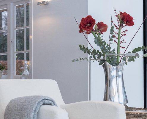 woonkamer, sfeer, warmte, bloemen, stoel, design